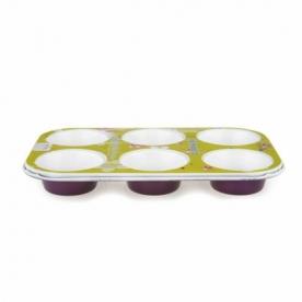 Muffinsütő kerámia bevonattal 6 db-os, lila (11836)