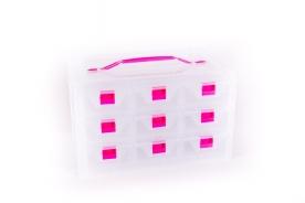 9 fiókos műanyag csavarbox 30x20x17 cm, víztiszta