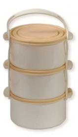 Egyszemélyes műanyag ételhordó, 3 részes 1 l - drapp (82)