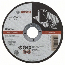 Bosch Darabolótárcsa egyenes Inox - Rapido Long Life kivitel 125 mm (2608602221)
