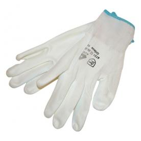 Kötött védőkesztyű, poliuretánba mártott, fehér 10-es HS-04-003