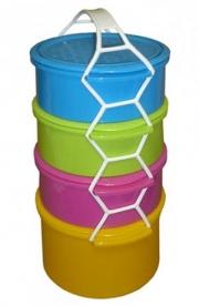 Műanyag Ételhordó 4 részes, színes (52SL)