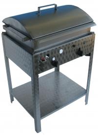 BGS-2 kétégős álló kukorica főző rozsdamentes tálcával és fedővel, PB-gáz üzemű
