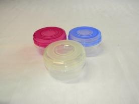 Hengeres, műanyag tárolódoboz 400 ml vegyes színben 3 db-os