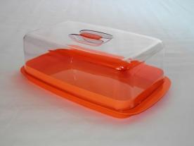Sütisdoboz narancsszínű műanyag, tetővel 36,5x21x11,5 cm
