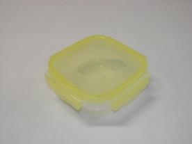 Csatos, szögletes műanyag ételdoboz 550 ml sárga
