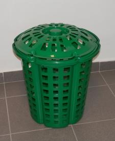Fogantyús szennyestartó, műanyag, 33 l, zöld