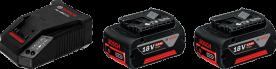 Bosch akkukészlet gyorstöltővel 2 x 18 V, 4,0 Ah M-C (1600A002F8)