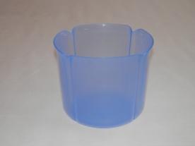 Virágtartó kaspó, szirom formájú, 15 cm, kék műanyag