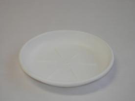 Virágtartó alátét, 17,5 cm, fehér műanyag
