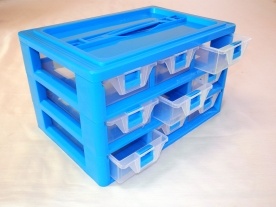 9 fiókos műanyag csavarbox 30x20x17 cm, kék