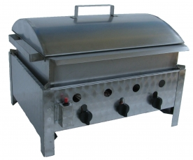 BGT-3 háromégős asztali kukorica főző rozsdamentes tálcával és fedővel, PB-gáz üzemű
