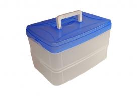 Csatos, füles műanyag szendvicstartó doboz 2x1,5  l (692)
