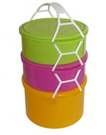 Műanyag Ételhordó 3 részes színes