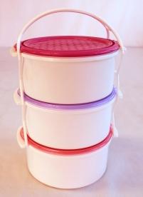 Kétszemélyes műanyag ételhordó 3 részes 1,5 l vegyes