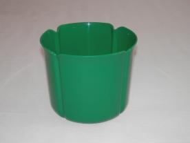 Virágtartó kaspó, szirom formájú, 15 cm, zöld műanyag