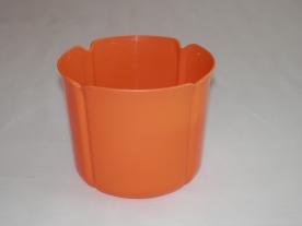 Virágtartó kaspó, szirom formájú, 15 cm, narancs műanyag