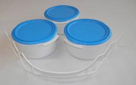 Kétszemélyes műanyag ételhordó 3 részes 1,5 l kék