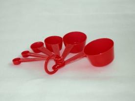 Mérőkanál készlet műanyag, piros