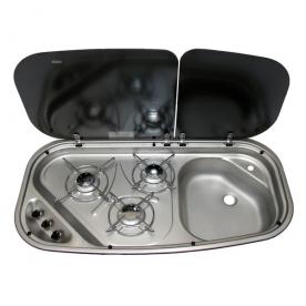 Dometic beépíthető gázfőzőlap + mosogató DF-HI/21-I-2G, PB-gáz üzemű
