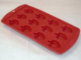 Gumis, szeder alakú jégkocka készítő piros