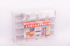 Csavartartó doboz 16 fiókos, műanyag 22x7x15cm -viztiszta