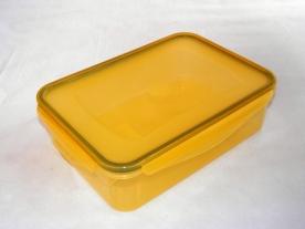 Csatos, szögletes műanyag ételdoboz 1,5 l sárga