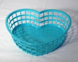 Szív alakú műanyagkosár nagy, zöld