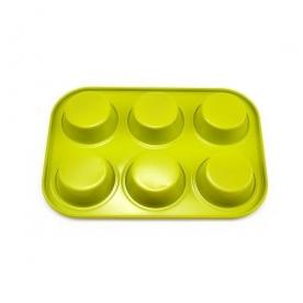 Muffinsütő kerámia bevonattal 6 db-os, zöld (11836-zöld)