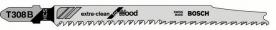 Bosch szúrófűrészlap fához T 308 B, Extra-clean for Hard Wood, egyenes vágáshoz 5 db (2608663751)