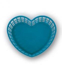 Szív alakú műanyagkosár nagy, kék