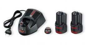 Bosch akkukészlet gyorstöltővel 2 x GBA 10,8 V 2,0 Ah O-B (1600A002X1)