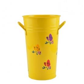 Virágtartó magas, virágos sárga bádog (72265-sárga)