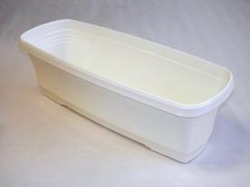 Virágláda tálcával,  50 cm, fehér műanyag