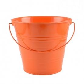 Virágtartó vödör narancsszínű bádog, 20 cm (72249-narancs)
