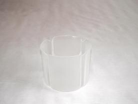Virágtartó kaspó, szirom formájú, 11 cm, víztiszta műanyag
