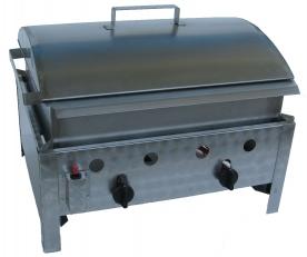 BGT-2 kétégős asztali kukorica főző rozsdamentes tálcával és fedővel, PB-gáz üzemű