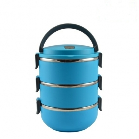 Rozsdamentes acél ételhordó, 3 részes - Kék (1233903)
