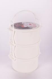 Egyszemélyes műanyag ételhordó, 3 részes 1 l - fehér