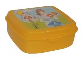 Szendvicstartó műanyag doboz, hercegnős sárga
