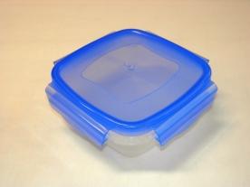 Csatos, szögletes műanyag ételdoboz 1050 ml kék