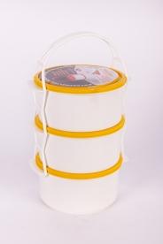 Egyszemélyes műanyag ételhordó, 3 részes 1 l - sárga