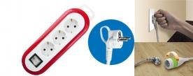 Home hálózati elosztó, 3- as, kapcsolóval piros (0553H)