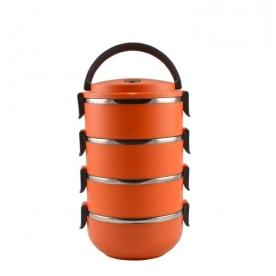 Rozsdamentes acél ételhordó, 4 részes - narancs (1233809)