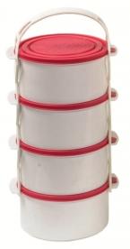 Egyszemélyes műanyag ételhordó, 4 részes 1 l  piros (83)