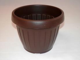 Virágtartó, hordó alakú, 40 cm, barna műanyag