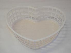 Szív alakú műanyagkosár közepes, fehér