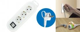 Home hálózati elosztó, 3- as, kapcsolóval fehér (0550H)