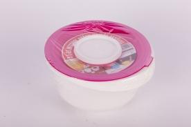 Keverőtál műanyag, kettős tetővel 3 l pink