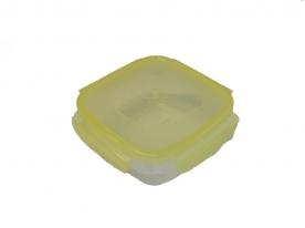 Csatos, szögletes műanyag ételdoboz 550 ml sárga (590)